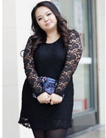 Wholesale New fashion hot patchwork elasticity lace solid plus size women clothing fat women ladies large sexy dress