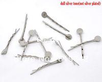 Wholesale Silver Tone Bobby Pins Hair Clips W mm Glue Pad cm Hair Accessories