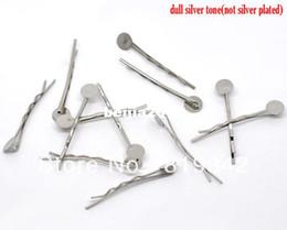 Free Shipping 100pcs Silver Tone Bobby Pins Hair Clips W   8mm Glue Pad 4.4cm Hair Accessories