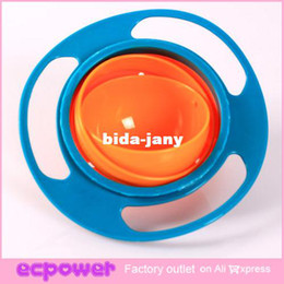 Wholesale 1pcs Baby Gravity Bowl Spill Resistant Kids Children Snack Food Dish Lid No Mess Dishwasher