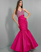 Cheap New Fashion Beaded V-neck Floor Length Pageant Party Dress Pleated Satin Long Mermaid Sexy Formal Wow Prom Evening Dresses Gowns 2014