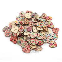 Quilt Accessories Buttons Nickel-Free Wholesale - 400pcs Mixed Heart Shaped 2 Hole Wooden Sewing Buttons Scrapbooking 20x22mm 111621