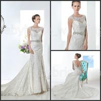 Cheap Demetrios 1472 Vintage sheer Lace Boat Neckline wedding dress bridalwear crystal belt sheath wedding dresses bridal gowns deep v back 2014