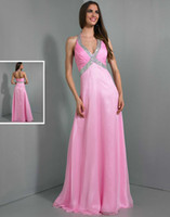 Cheap Hot Sale 2014 Beaded Halter Neckline Long Party Dress Pleated Chiffon Empire Pink Floor Length A-line Zipper Wow Prom Pageant Dresses Gowns