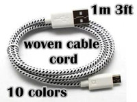 For Samsung   Braided Wire Charger Cable for Samsung i9500 USB Data Sync Cloth Weave Woven Fiber Knitted 1M 3ft Nylon Cords 5pcs up