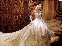 beaded halter neck wedding dresses - 2016 wedding dresses Elegant Halter neck A Line taffeta Applique Beaded Cathedral Train Corset Bridal Gowns Wedding Dresses custom made