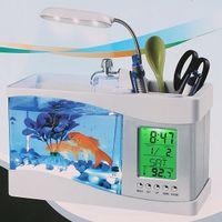 Wholesale set Mini USB LCD Desktop White Fish Tank Aquarium Clock Timer Calendar LED Light