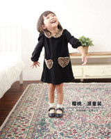 Wholesale Spring Kids Girl s Dresses Long Sleeve Sexy Leopard Heart Cotton Lapel Doll Collar Children Clothing Baby Girl Dress Black Color C0979