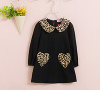 TuTu Spring / Autumn A-Line New Spring Kids Girl's Dresses Long Sleeve Sexy Leopard Heart Cotton Lapel Doll Collar Children Clothing Baby Girl Dress Black Color C0979