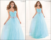Elegant New Sky Blue A- Line Prom Dresses Sweetheart Waist Be...