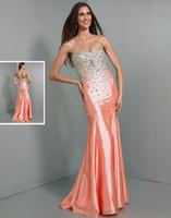 Cheap Fashion Sexy Beaded Sweetheart Neckline Long Evening Dress Taffeta Mermaid Sweep Train Orange 2014 Wow Prom Party Dresses Gowns Custom Made