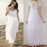 Cheap 2014 Bohemian Beach A-Line Wedding Dresses Boho Bridal Gown With Sheer Scoop Backless Capped Sleevs Lace Bow Sash Ankle-Length Sku B24