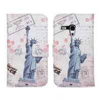 Cheap Wallet Flip Leather Case Cover For Samsung Galaxy S3 S III Mini I8190 Statue Of Liberty Eiffel Tower Cases