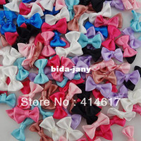 ribbon flowers - 60 x Small Satin Ribbon Bows Flower Appliques sew Craft Kid s cloth Upick A2029