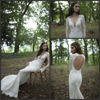 Trumpet/Mermaid Reference Images V-Neck 2014 Berta Sexy Mermaid Deep V-neck Lace Appliques Long Sleeves Floor Length Lace Chiffon Wedding Dresses Bridal Gowns Dress