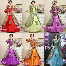 Wholesale purple green red blue orange color choice medieval dress Renaissance Gown Costume Victorian Marie Antoinette Belle Ball dress