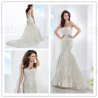 Cheap 2014 Demetrios bride 1478 strapless Lace mermaid covered button wedding dress backless Chapel length train wedding dresses bridal gowns