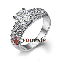 Wholesale christmas jewelry gift austrian crystal ring K White Gold Plated Rhinestone Jewelry Ct Simulated Diamond Engagement Ring R180W1