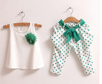2014 NEW Baby Girl Set 3 color large flowers dot sleeveless ...