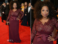 Wholesale 2014 Oprah Winfrey Burgundy Long Sleeves Sexy Mother of the Bride Dresses V Neck Sheer Lace Sheath Plus Size Celebrity Red Carpet Gowns Sale