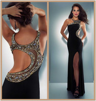 Cheap 2014 Sexy Prom Dresses Asymmetrical Neckline Crystal Beaded Side Cut Out Sheer Open Back Chiffon Prom Dress Stunning Pageant Dresses Cheap