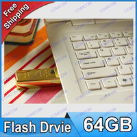 Wholesale 2014 NEW DHL GB Gold bar USB Flash Memory Pen Drives Sticks Disks GB Pendrives Thumbdrives