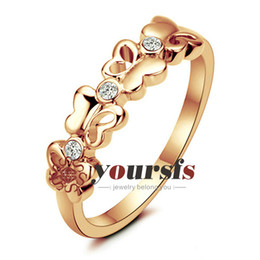 Yoursfs Trendy New Equisite Cute Heart Butterfly Design 18 K Rose gold Plated Use Austria crystal Rings For lady Jewelry R203R1