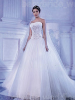 Cheap Demetrios Bridal 2871 Strapless Tulle gown Basque waist crystal beads ruching Sweetheart bodice lace up back A-line wedding dresses 2014