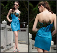 Cheap 20104 Modern Sexy Girdling Peacock Feathers Strapless Mini Blue Prom Dress
