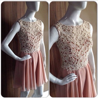 Cheap 2014 Pearl Decorate Cocktail Dresses Jewel Neck Mini Length Chiffon Formal Short Evening Prom Gowns Bridesmaid Dresses Real Picture