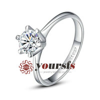 Wholesale Whited Gold Plated Use Austria Crystal Simulation of Diamond ct Engagement wedding ring Lovers Gift R059W1