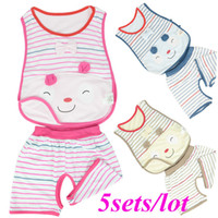 Wholesale 5sets New Summer Girls Baby Cute Bear Stripe T Shirt Vest Shorts Trousers Clothes Set Best Gift