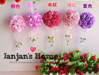Wholesale New Arrival Artificial Flower Rose Ball Silk flower Rose Ball With Crystal Pendant Home Decorations For Wedding Party Colors JJ1