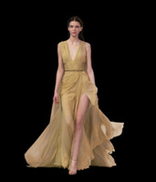 Cheap Sexy Gold Chiffon High Slit with Plunging Neck Formal Evening Gowns Floor Length Elie Saab 2014 Haute Couture Backless Prom Pageant Dresses