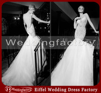 Wholesale 2014 Elegant Back See through Lace Wedding Dress Mermaid Open Back Tulle Bridal Gown with Appliques and Pearls