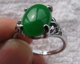 NATURAL GREEN JADE TIBET SILVER WOMAN RING SIZE7,8,9