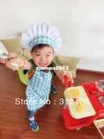 Wholesale kids apron plaid style apron hat set children cooking apron cooker hat chef cap kindergarten baby apron hat set