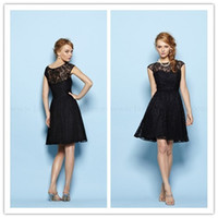 Wholesale 2015 Black Lace Overlay Knee Length Simple Bridesmaid Dress Cheap High Neck New Bridesmaid Gown Excellent Formal Gowns Maid Of Honor Dresses