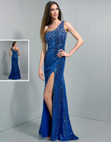 Cheap Sparkled New Beaded One Shoulder Long Evening Dress Sequins Lace Sheath Split Sweep Train Wow Prom Party Dresses Gowns Free Shipping 2014