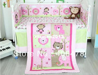 Cheap Bedding Sets 3pcs quilt+cot bumper+fitted cover Cotton Baby Cartoon Sweat pink animals