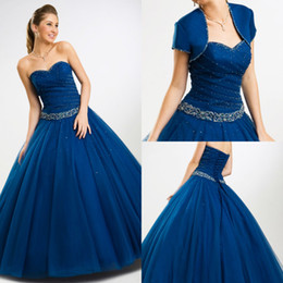 Wholesale 2014 royal blue strapless sweetheart Ball gown Quinceanera Dresses with applique beads sash and free jacket BO4698