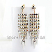 Wholesale New design punk style silver alloy jewelry imitation gemstone beads earrings for women