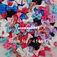 Wholesale 60 x Small Satin Ribbon Bows Flower Appliques sew Craft Kid s cloth Upick A2029