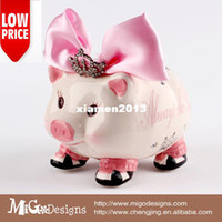 Wholesale 2013 Migodisigns Hand Craft wedding gifts Lovely Ceramic pink Princess Pig Piggy Bank For Kids Girls