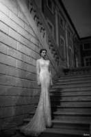 Cheap 2014 New Arrival Berta Newest Wedding Dress Long Beaded Appliqued Illusion Sheer Lace Sleeveless Long Train Bridal Gown Wedding Dress MD120