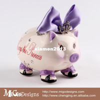Wholesale Migodisigns Hand Craft Ceramic Princess Purple Pig Piggy Bank Crystal Coin Bank For Kids Girls