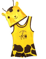 Kids swimwear giraffe one- piece child swimsuit with hat whol...