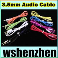 Wholesale Noodle Flat mm AUX Audio Cable For Iphone M FT Jack Stero Car Aux Audio Extention Cables For phone PC MP3 Headphone Speaker New Style