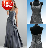 2014 Grey long Bridesmaid Dresses Halter with beads Sweethea...