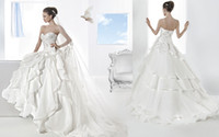 Cheap 2014 Demetrios Illusions 3200 wedding dresses Strapless Satin Organza beaded lace bodice Sweetheart tiers ruffles Bridal gowns bride dress
